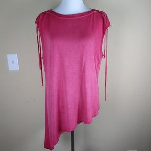 Rock & Republic Red Asymmetrical Shirt Top XL